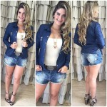Look do dia: Jaqueta + shortinho jeans com sandália fivela anabela <3